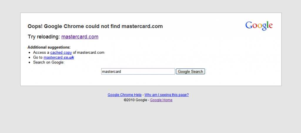 Oops Google Chrome could not find mastercard